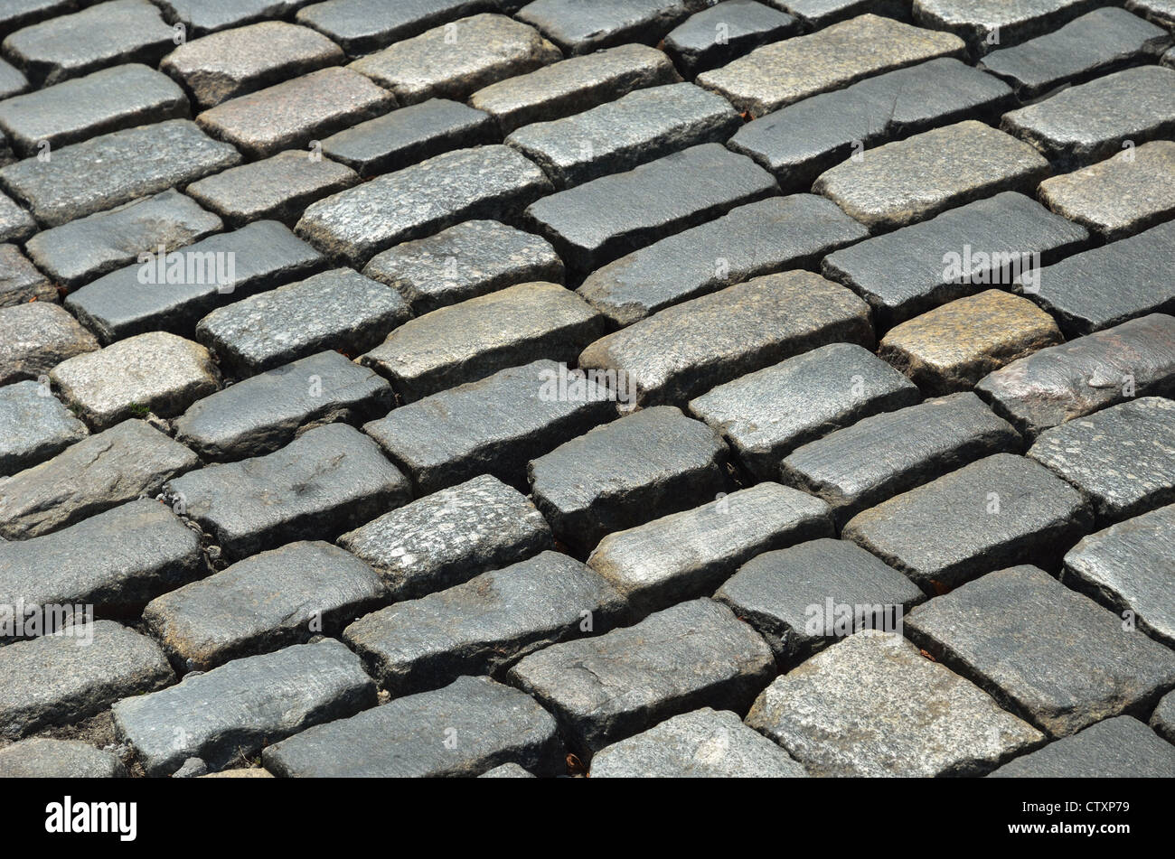 Close-up of old block pavement - Stock Image