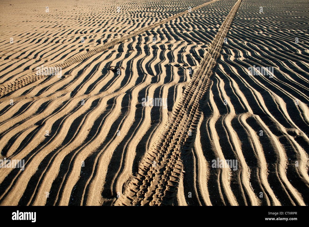 Abstract photograph of pattern texture tyre tracks and the ripple of sands left at low tide on beach at low tide - Stock Image