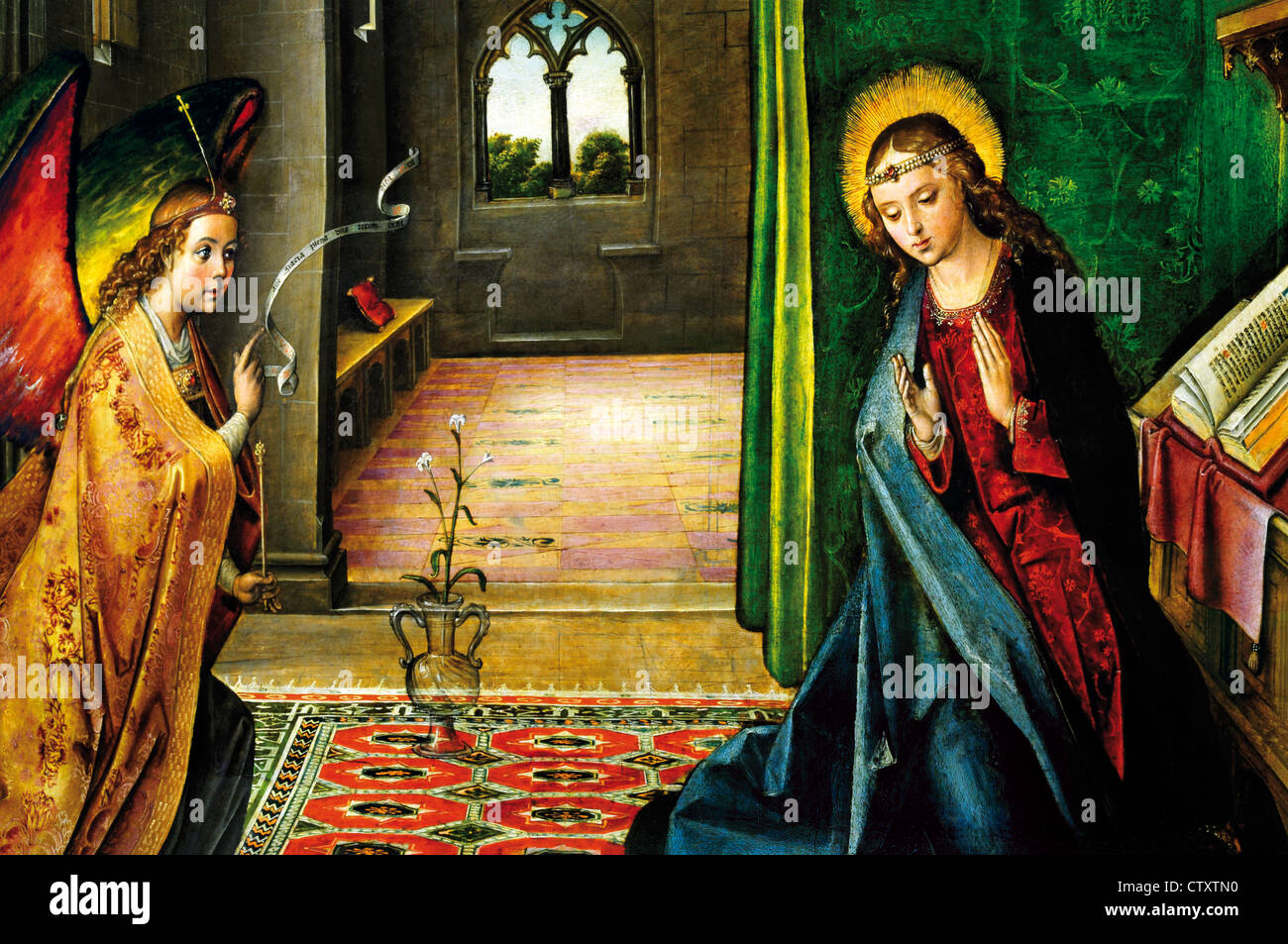 Spain, Burgos: Oil drawing of the 'Annunciation of Virgin Mary' in the museum of Monastery Cartuja de Miraflores - Stock Image