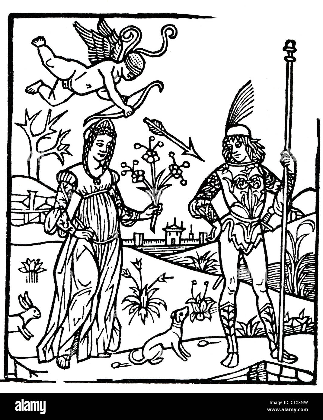 TWO LOVERS in an Italian woodcut about 1500 - Stock Image