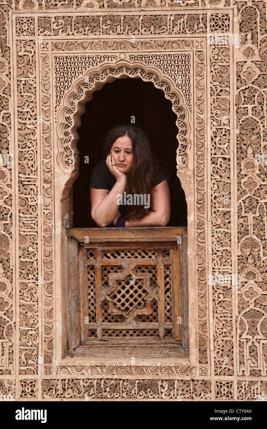 intricate design on the Ali ben Youssef Medersa in Marrakech, Morocco - Stock Image