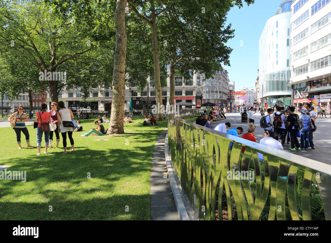 Leicester Square, reopened in 2012, in London's West End, England, UK - Stock Image