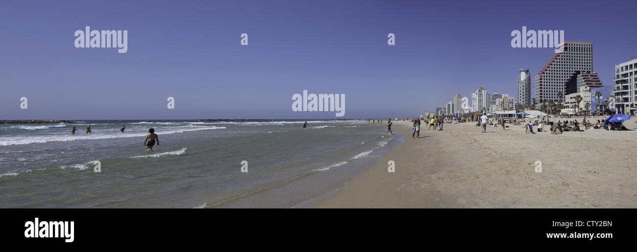 Mediterranean beach scene in Tel Aviv, Israel Stock Photo