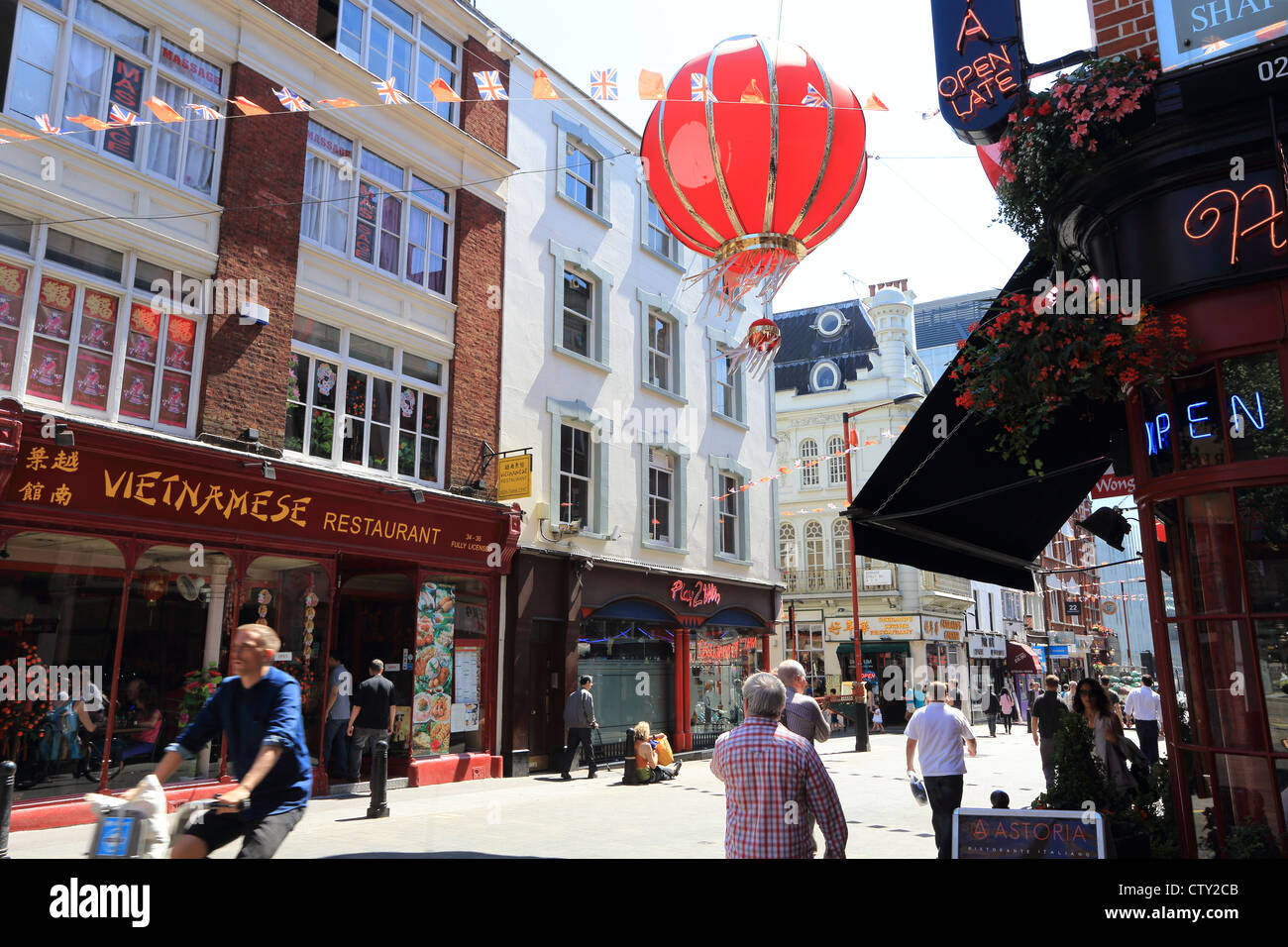 Colourful Wardour Street in China Town, in London, UK - Stock Image