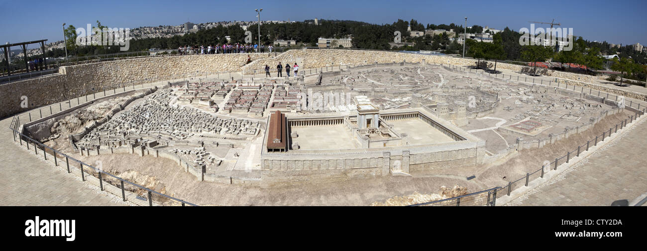 Panoramic view of the 50:1 scale Second Temple Model at the Israel Museum in Jerusalem, Israel - Stock Image