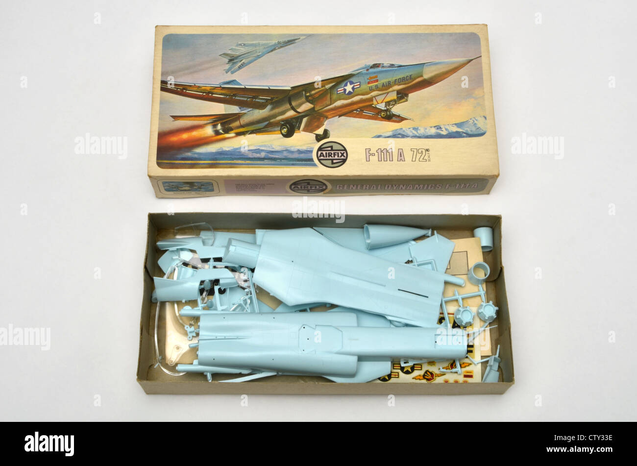 Airfix 1/72 scale F-111A plastic model construction kit showing parts in box - Stock Image