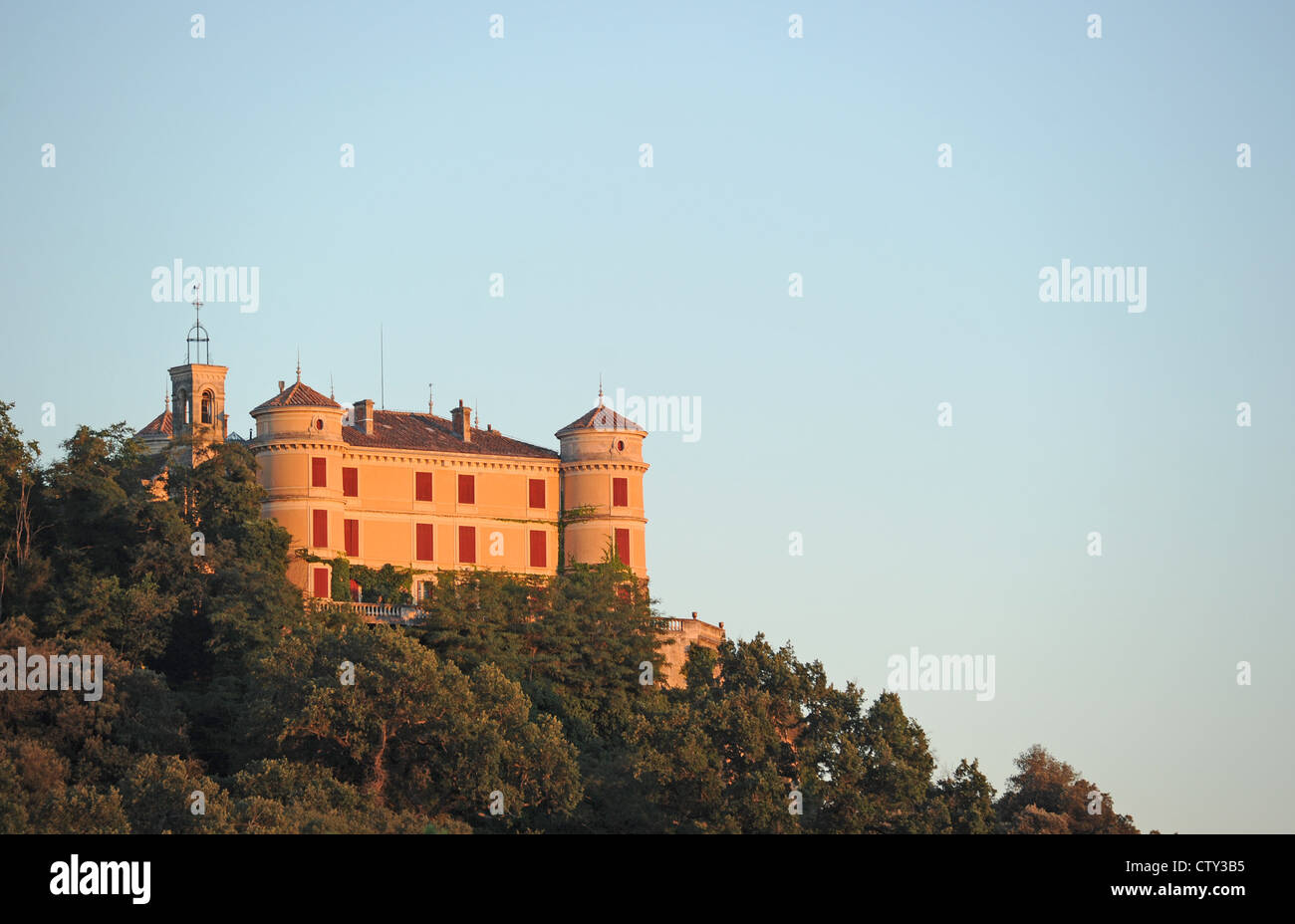 View of the chateau in Allemagne-en-Provence, a landmark of gothic architecture in Provence, southern France. - Stock Image
