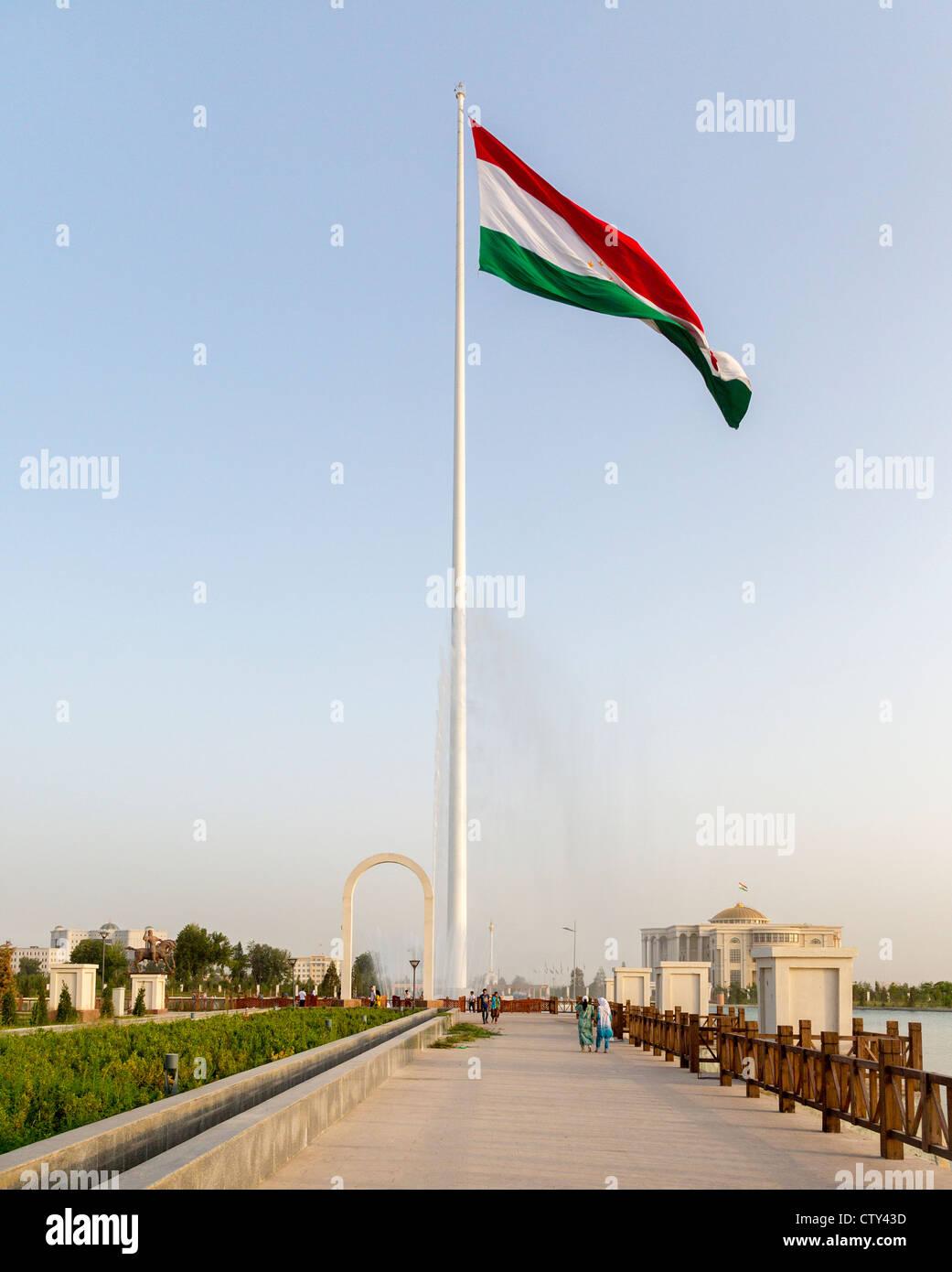 Dushanbe Flagpole, Central Park, Tajikistan - Stock Image