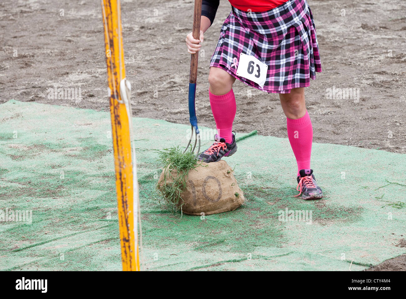 The Sheaf Toss Event at the 66th Annual Pacific Northwest Scottish Highland Games and Clan Gathering - Enumclaw, - Stock Image