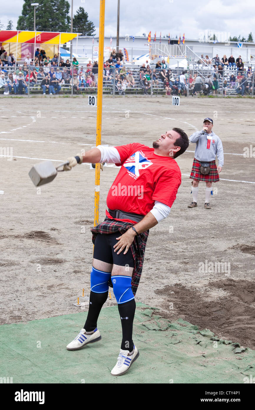 The Weight over the Bar Event at the 66th Annual Pacific Northwest Scottish Highland Games and Clan Gathering - Stock Image