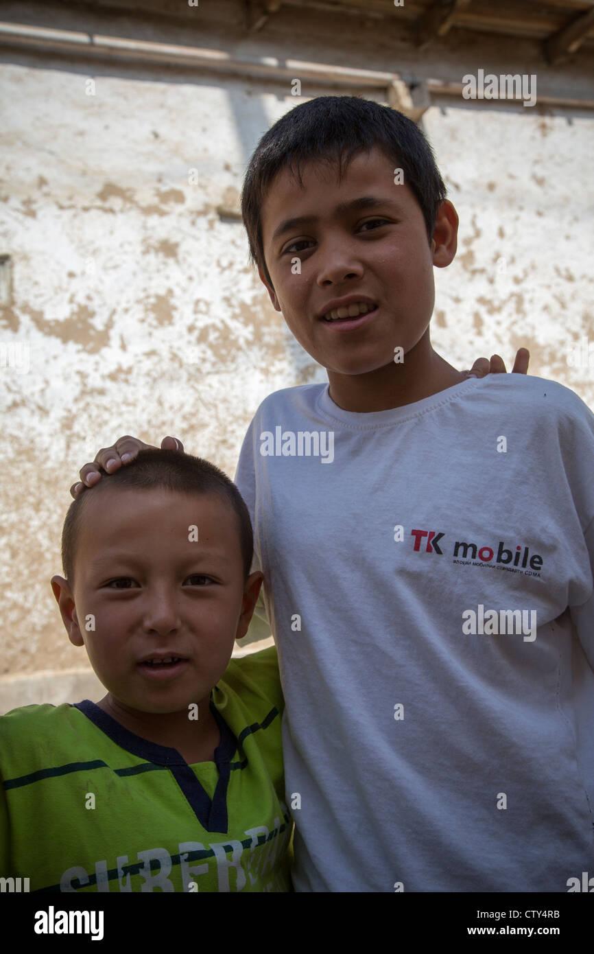 two boys istaravshan tajikistan stock photo 49768975