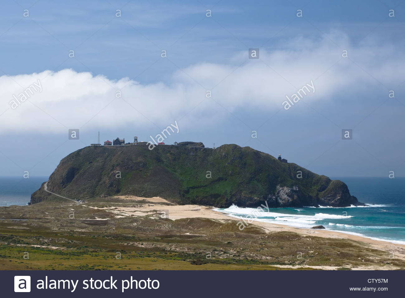 Scenic View of Point Sur Lighthouse from Pacific Coast Highway (U.S. Hwy 1), Point Sur, California - Stock Image