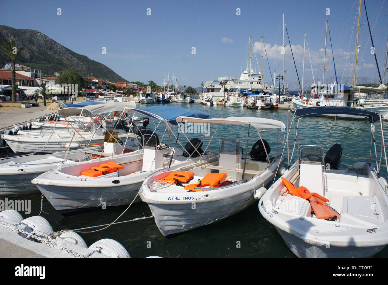 Charter boats at Nidri Harbour, Ionian Islands, Greece - Stock Image