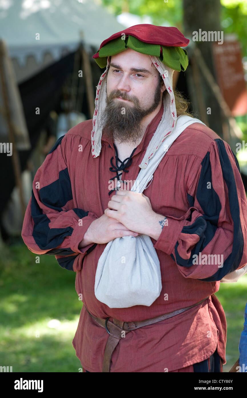 Man with medieval mask at Gotland festival - Stock Image