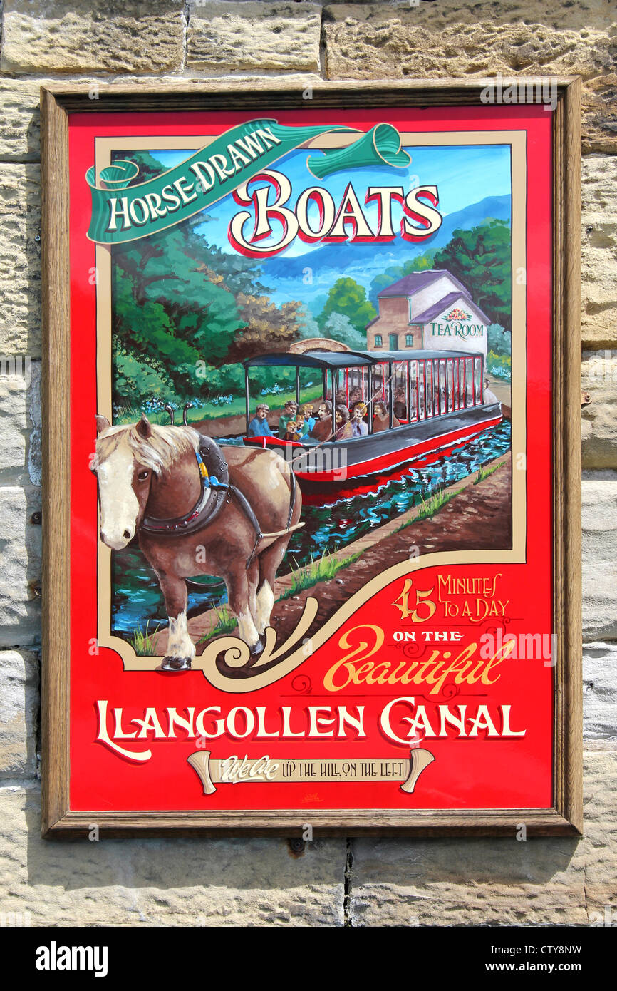 Poster Advertising Horse Drawn Boats On The Llangollen Canal, Wales Stock Photo