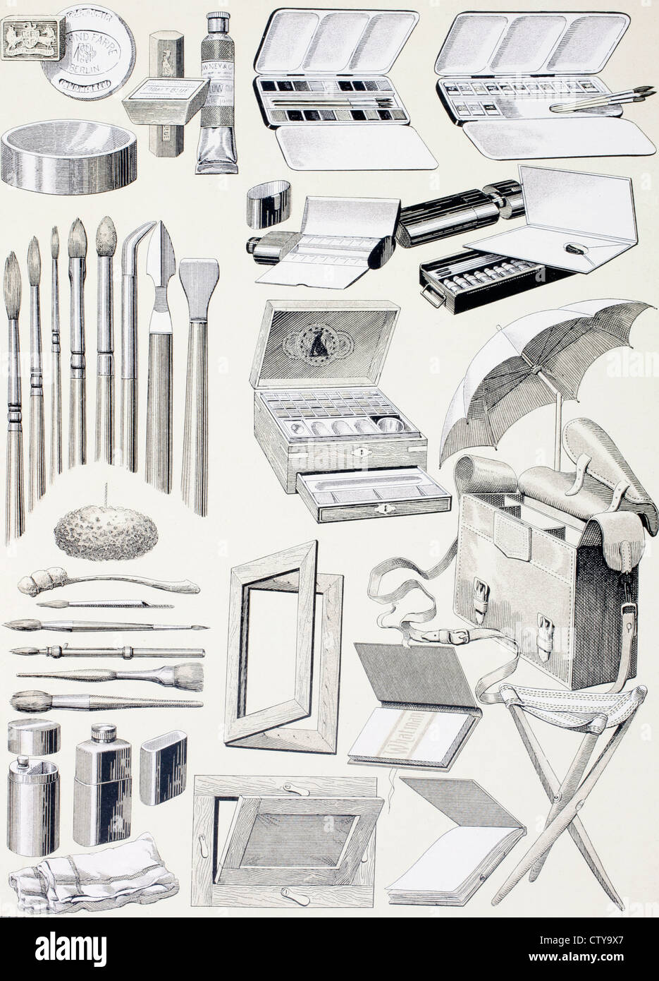 Watercolour tools and supplies. From Enciclopedia Ilustrada Seguí, published Barcelona circa 1910. - Stock Image