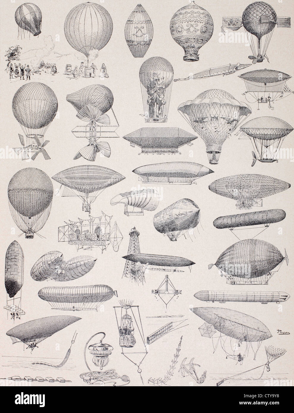 Hot air balloons throughout history.... - Stock Image
