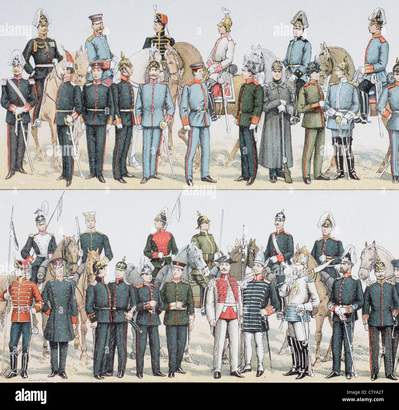 German army and cavalry uniforms at the turn of the 20th century. - Stock Image