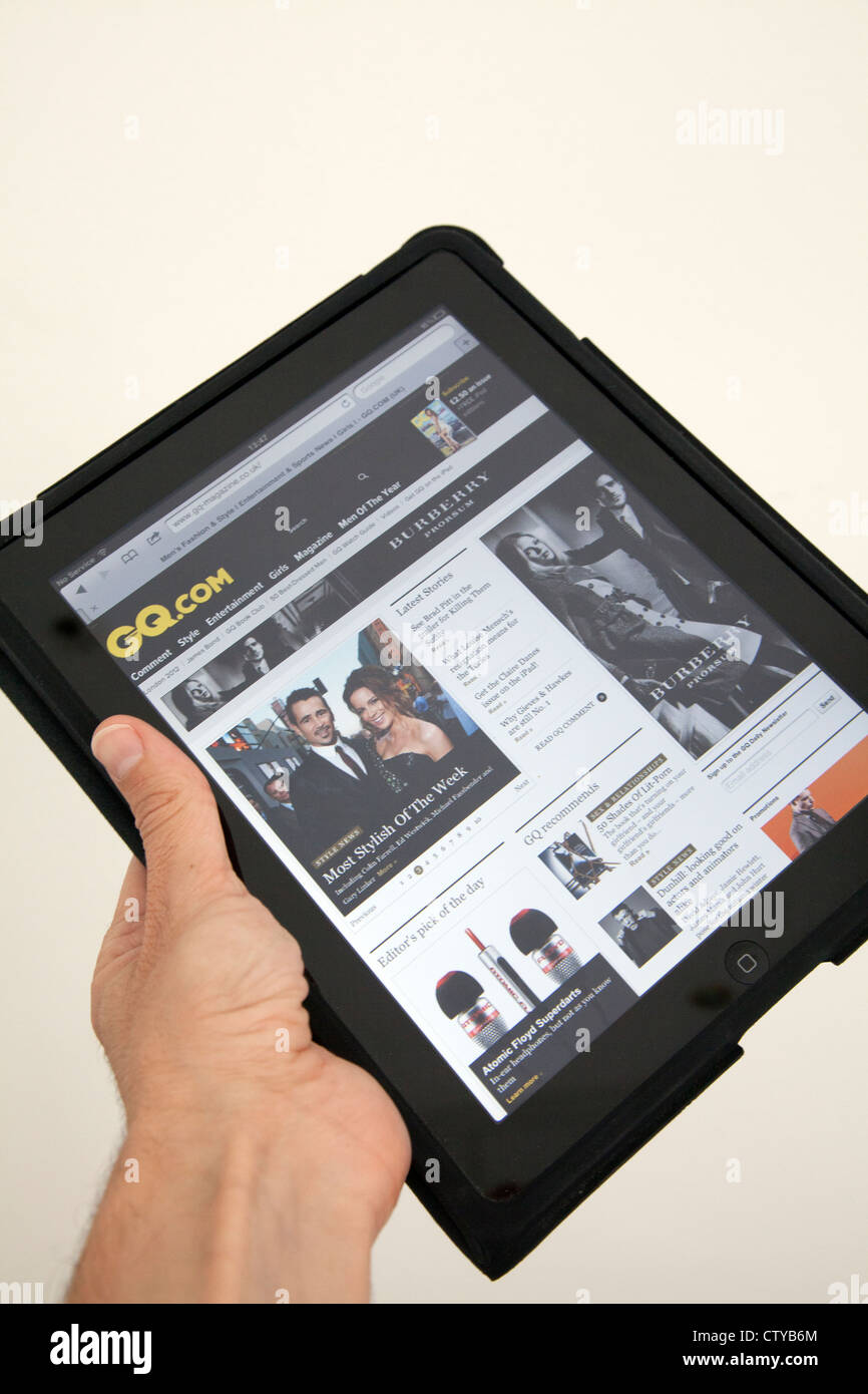 GQ Page on Web viewed on iPad - Stock Image