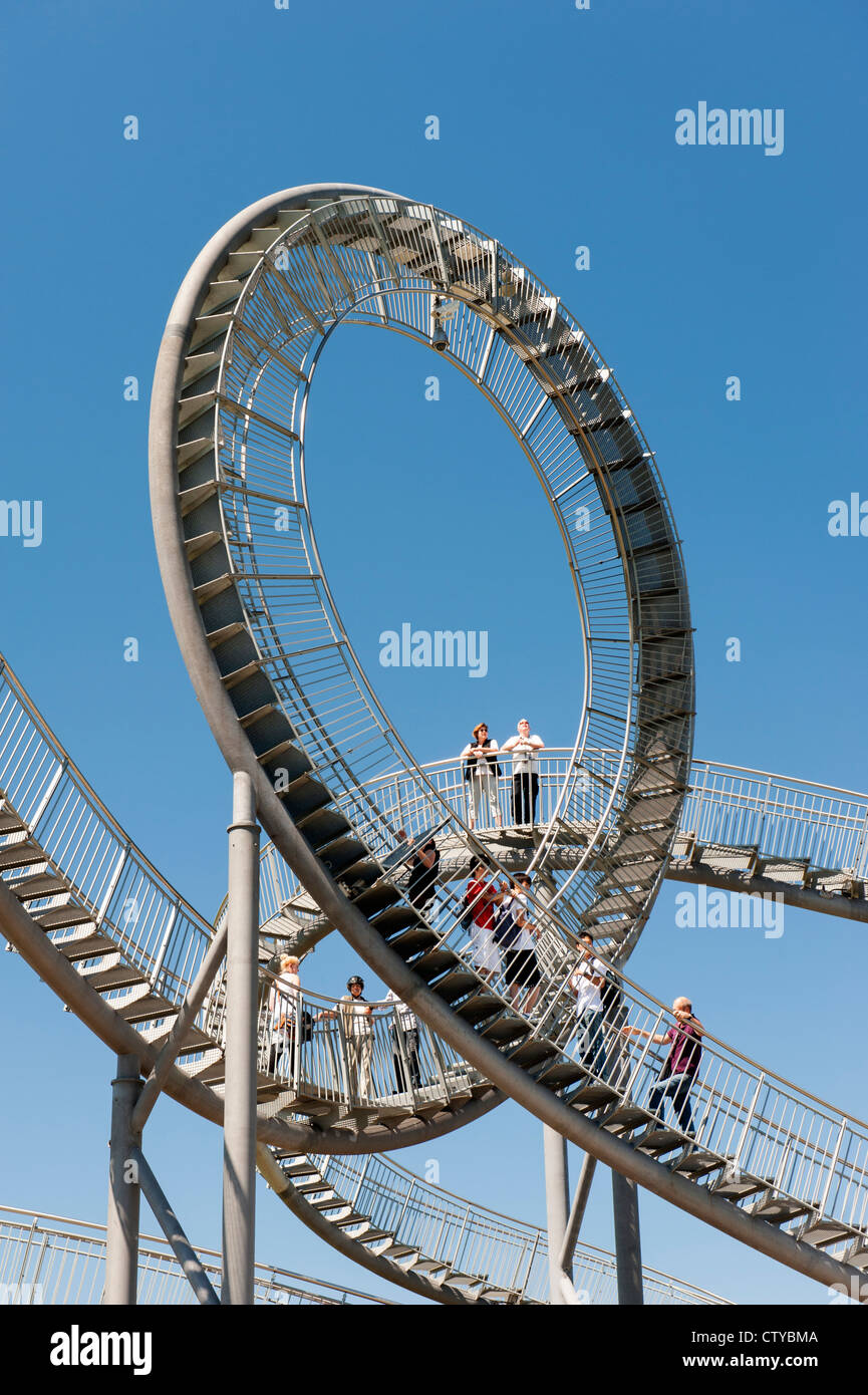 'Turtle and Tiger' pedestrian roller coaster sculpture on Magic Mountain in Duisburg Germany - Stock Image