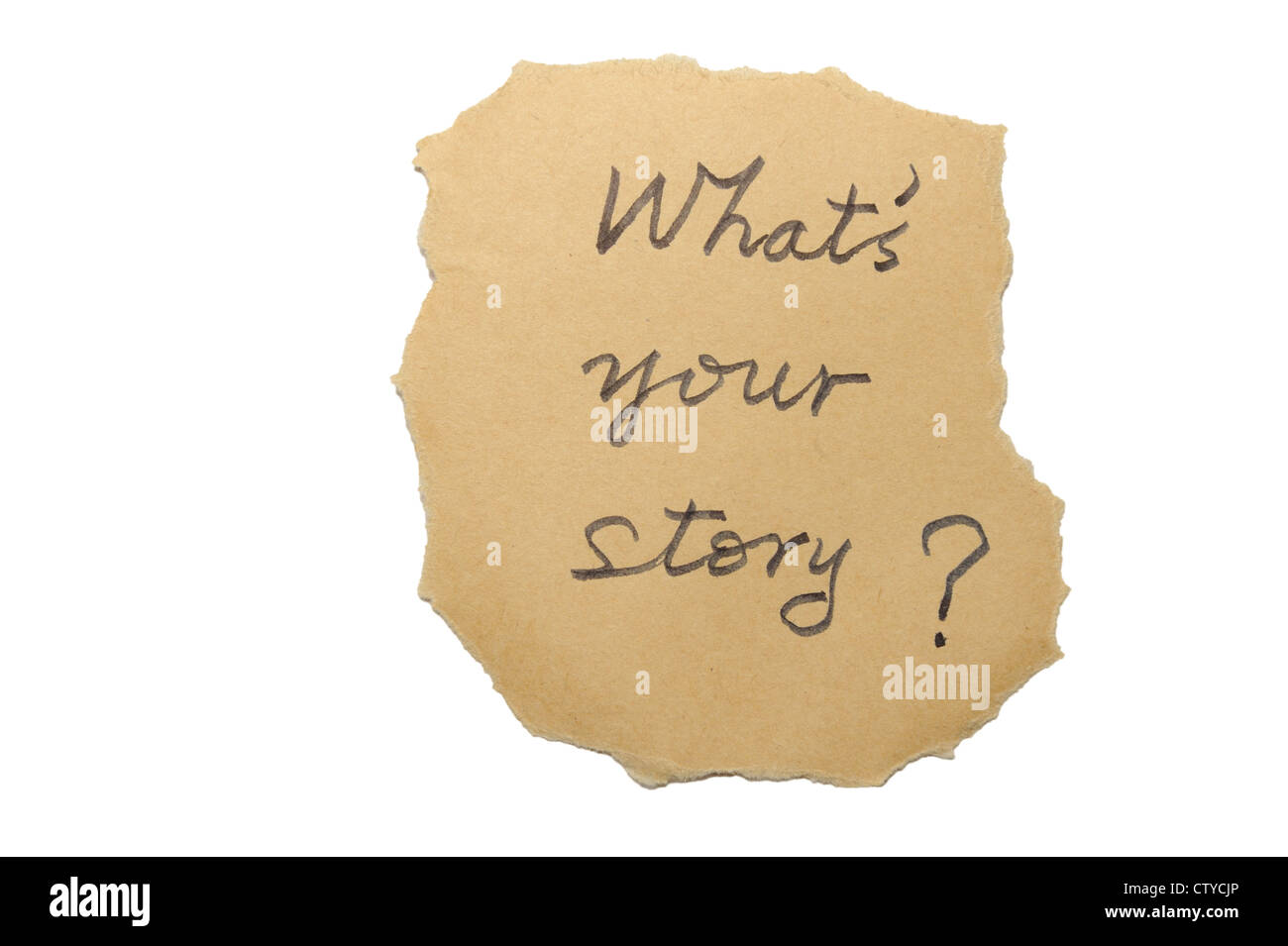 What's your story words written on an old paper - Stock Image