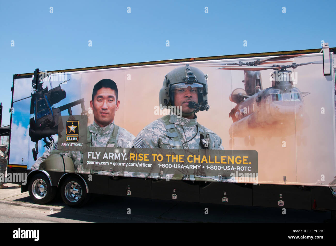 Fly Army helicopter Air force United States of America American USA Billboard Advertising  Nay - Stock Image