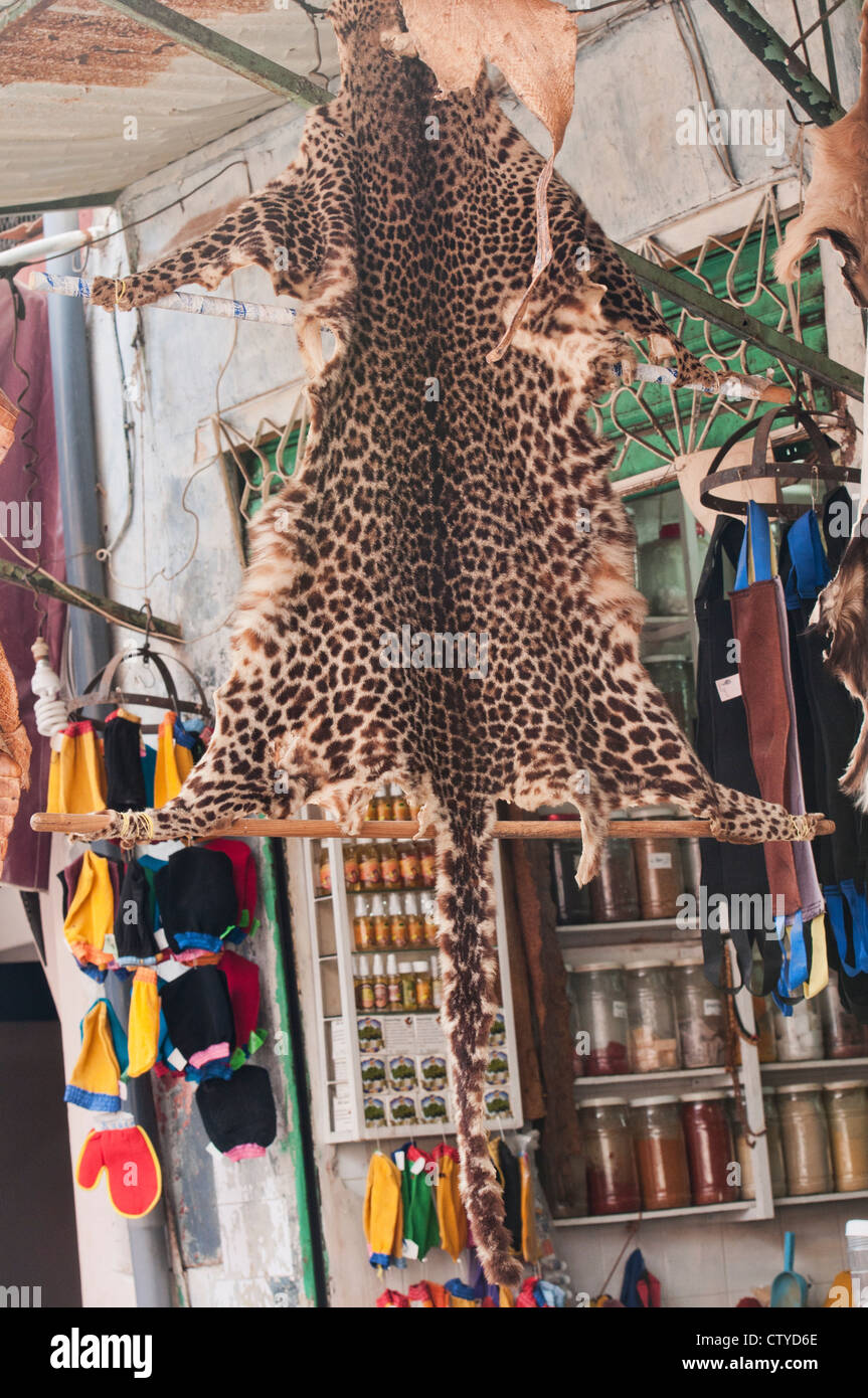 leopard pelt for sale in the ancient medina in Marrakech, Morocco Stock Photo