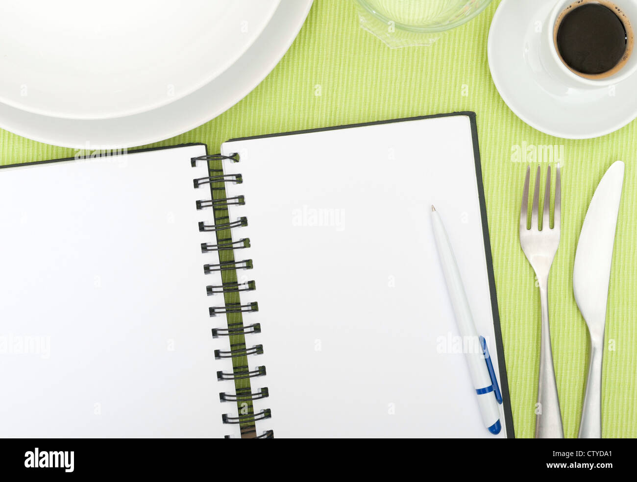 Recipe Book - Open Blank Diary With Ballpoint on Set Table In Restaurant  sc 1 st  Alamy & Recipe Book - Open Blank Diary With Ballpoint on Set Table In Stock ...