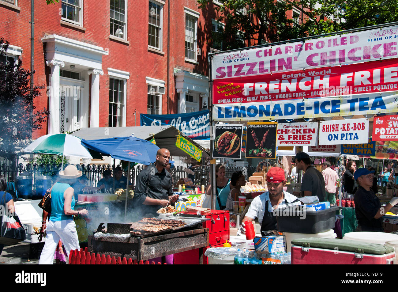 Weekend Street Market Barbecue Meat Sausages spareribs West Village Washington Square North ( Greenwich )  Manhattan - Stock Image