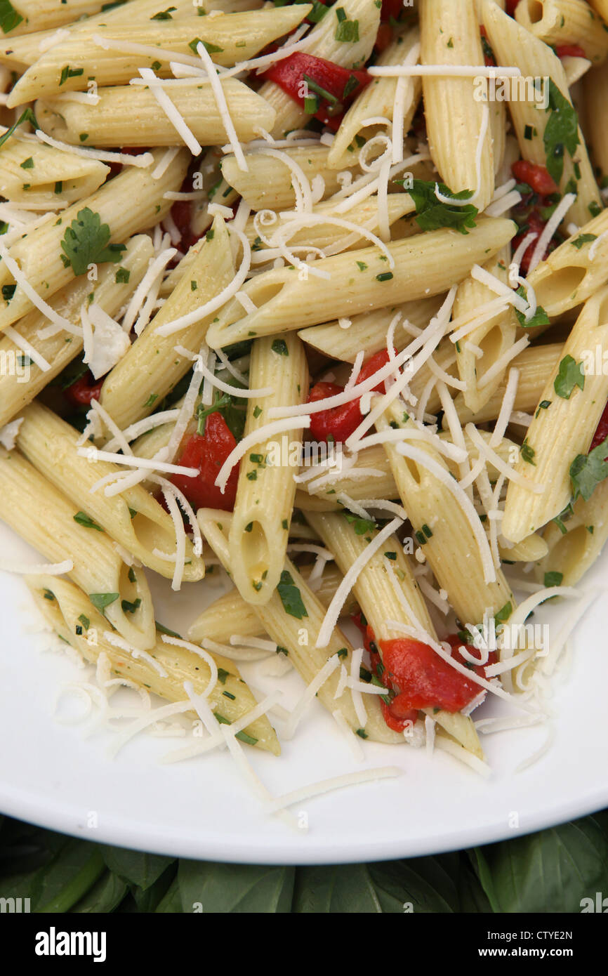 A serving of Penne pasta with olive oil and herbs - Stock Image