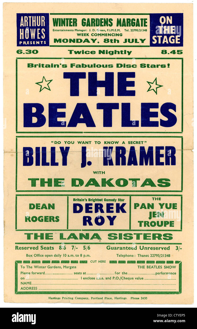 000660 - Beatles Concert Handbill from the Winter Gardens in Margate on 8th July 1963 - Stock Image