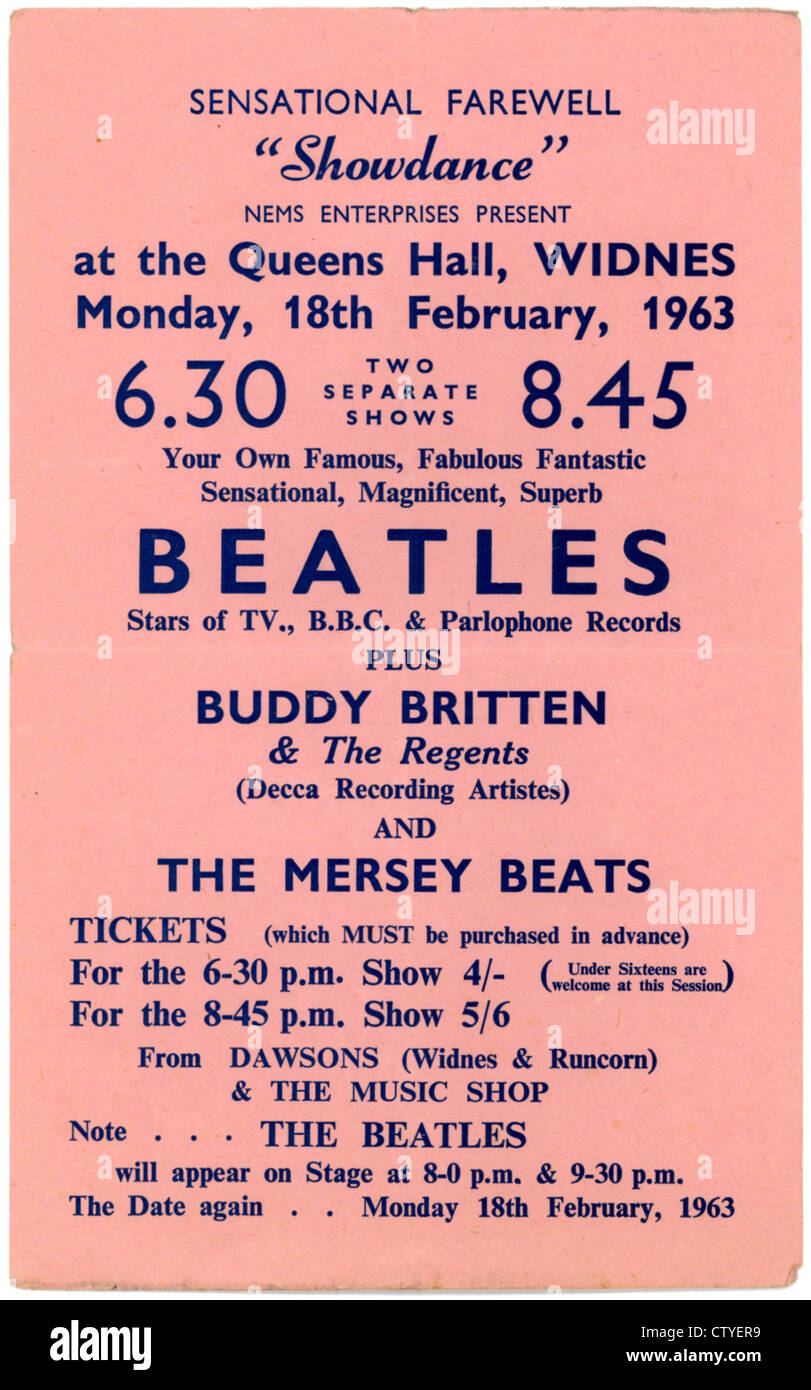 000712 - The Beatles Concert Handbill from Queens Hall in Widnes on 18th February 1963 - Stock Image