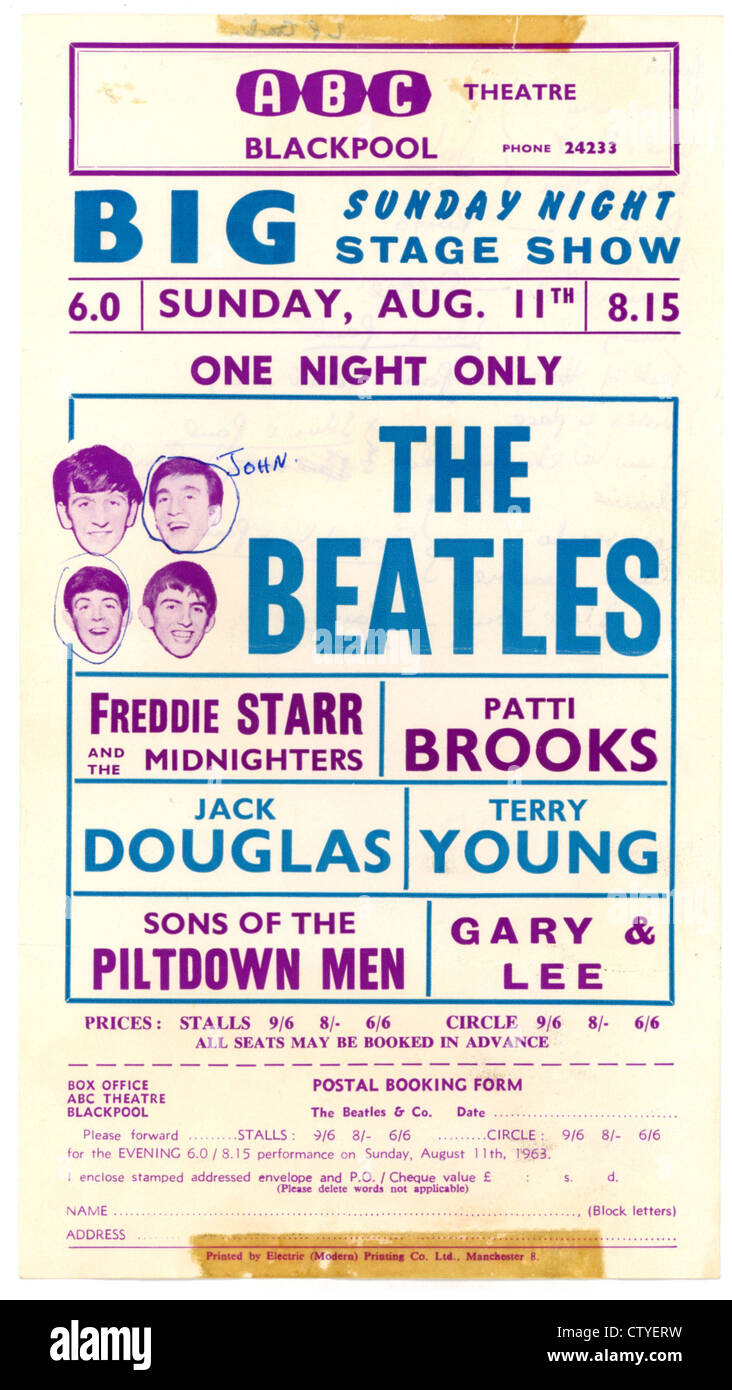000731 the beatles concert handbill from the abc blackpool on 11th