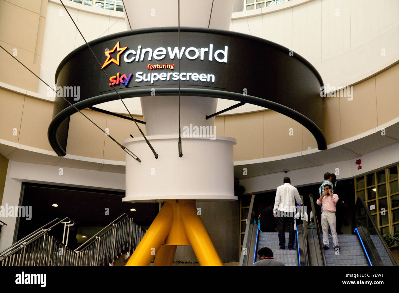 Cineworld cinema sign, the O2 arena, london UK - Stock Image