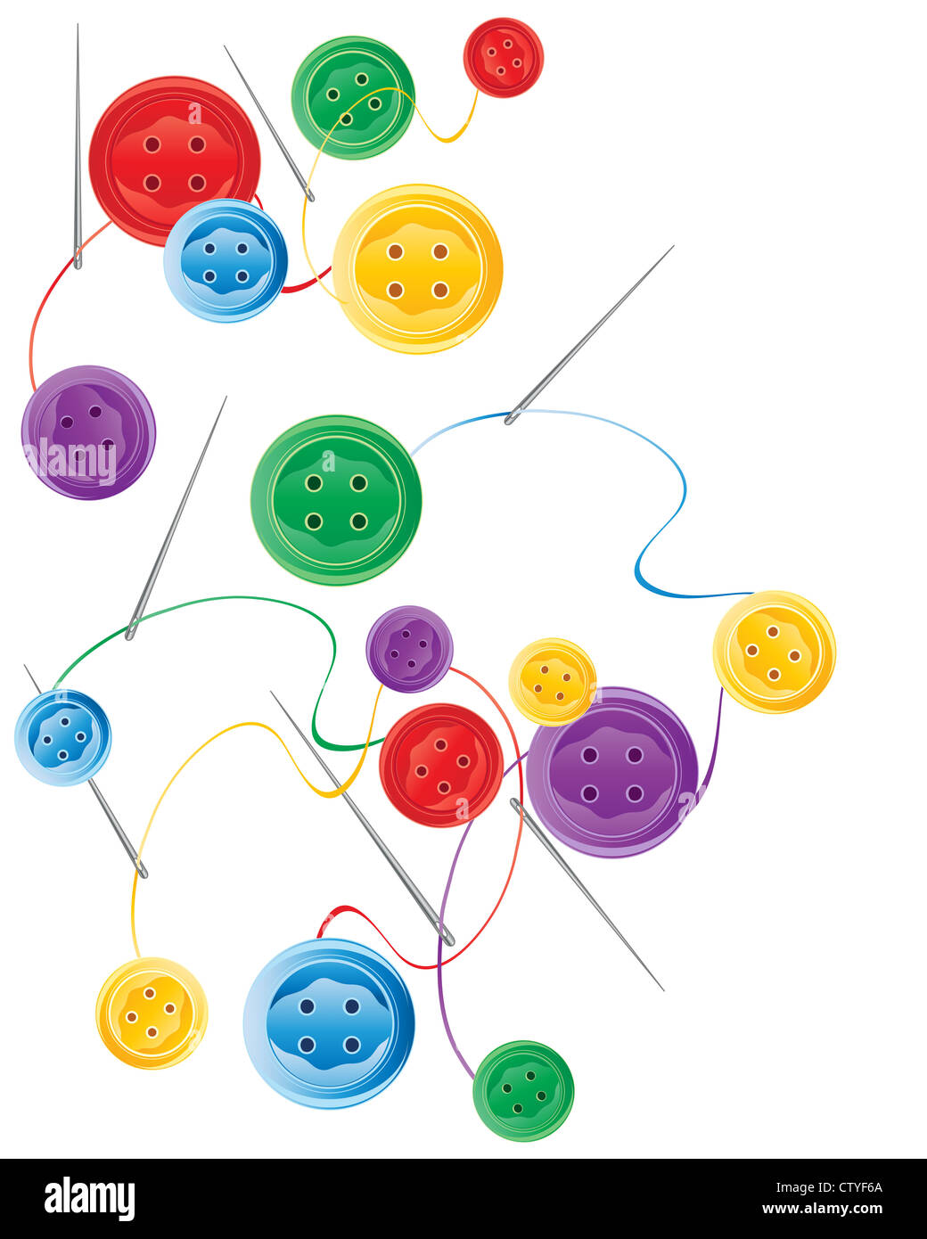 an illustration of colorful bright buttons with needles and thread scattered on a white background - Stock Image