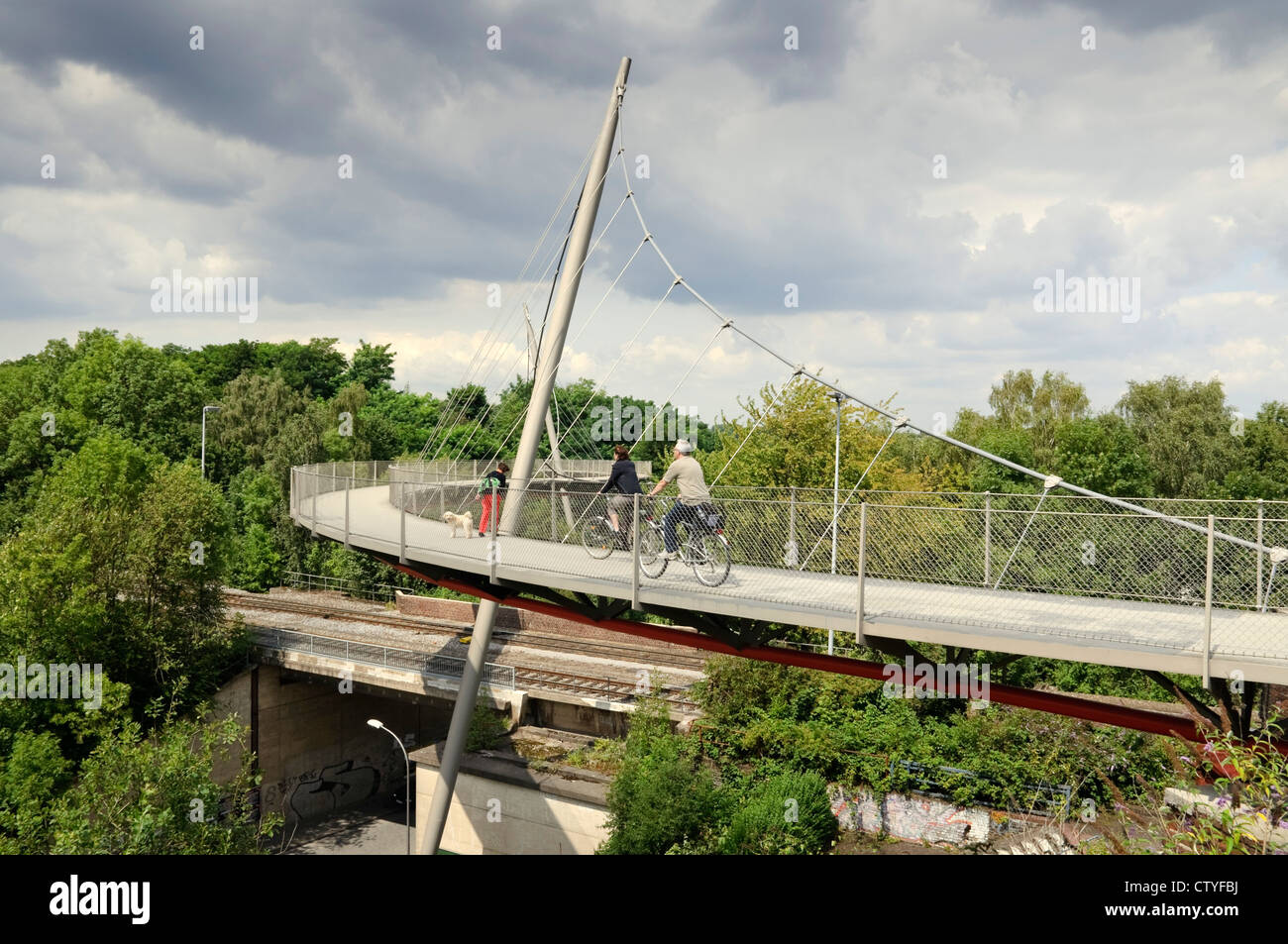 The Erzbahnschwinge on the Erzbahn cycle way, Bochum, Germany. - Stock Image