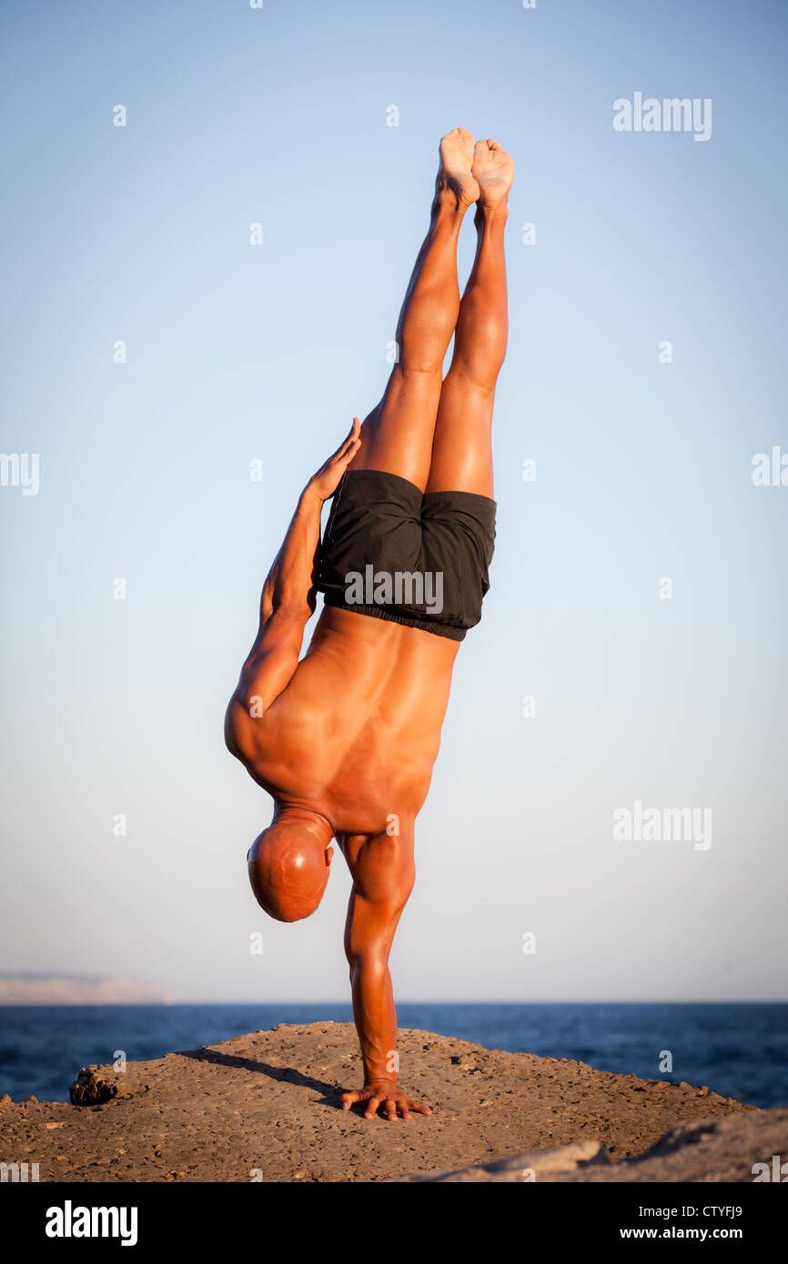 strength, strong man training outdoors - Stock Image