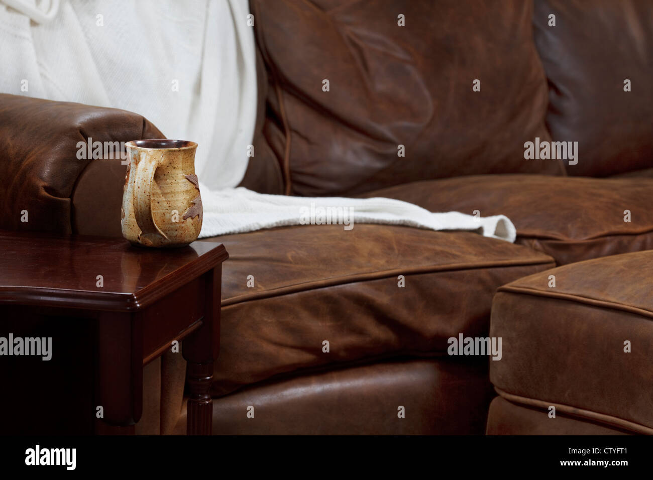Mug of something hot and a comfy sofa to relax in - Stock Image