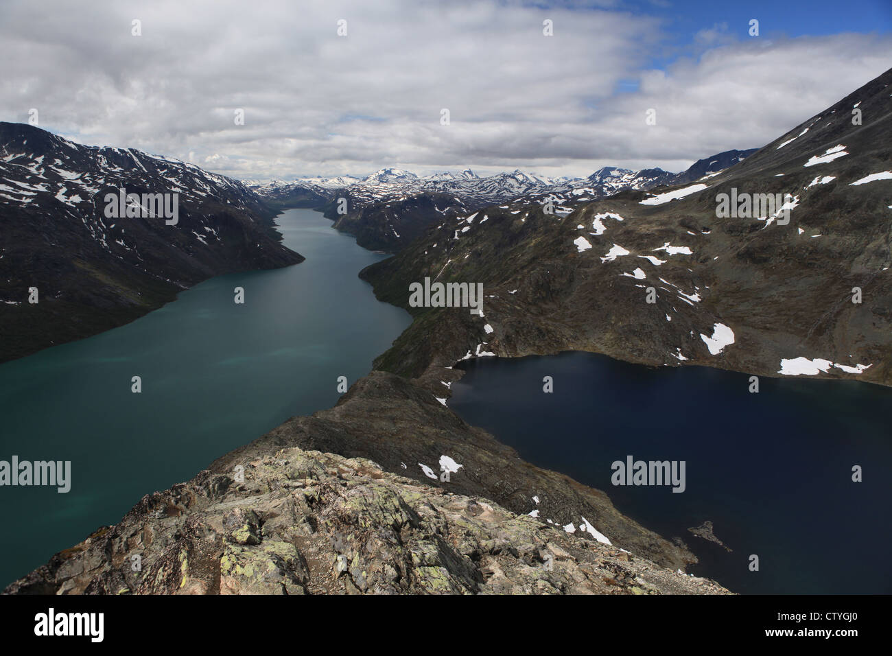 Famous Besseggen ridge in Jotunheimen - Stock Image