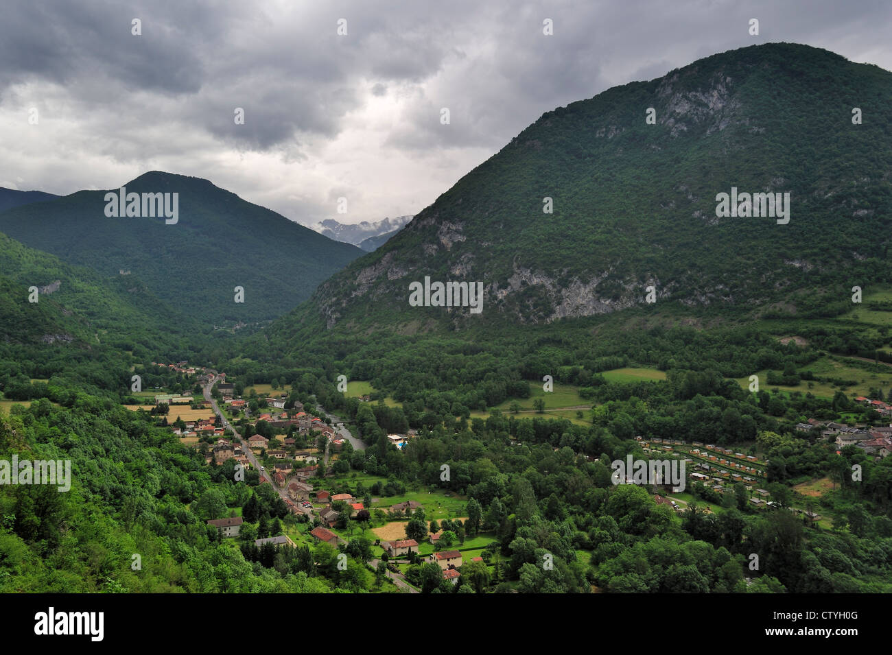View over the village Niaux in the Midi-Pyrénées, Pyrenees, France - Stock Image