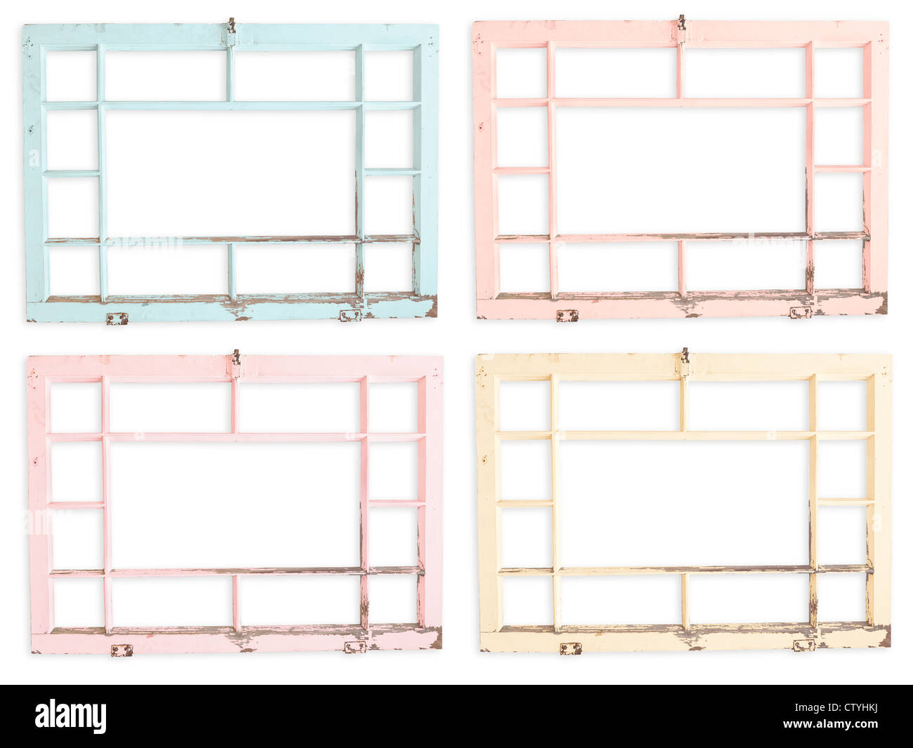 Peeling grungy painted wood window frames. Wiith clipping paths - Stock Image