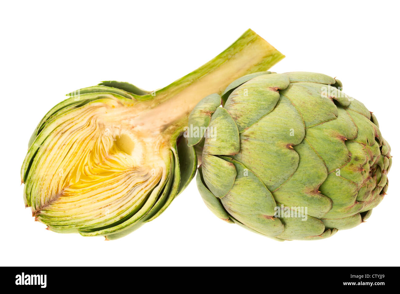 Fresh artichokes - studio shot with a white background Stock Photo