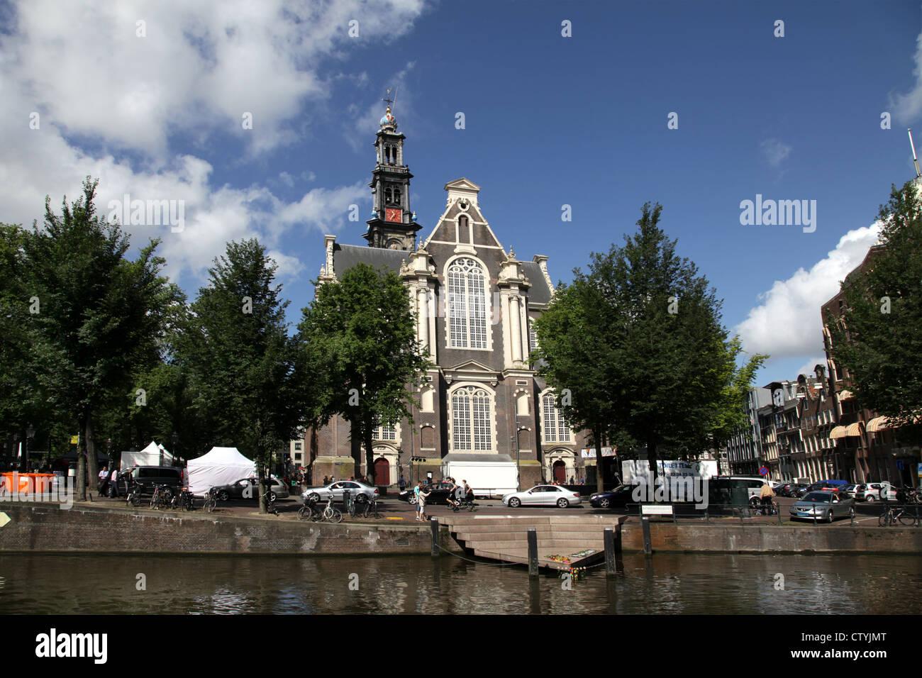 Amsterdam.Wester church.Westerkerk.canals.Homomonument. - Stock Image