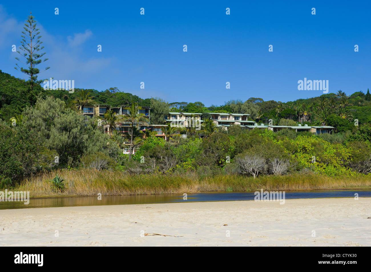 Apartments overlooking Cylinder Beach on Stradbroke Island in Queensland, Australia. Stock Photo