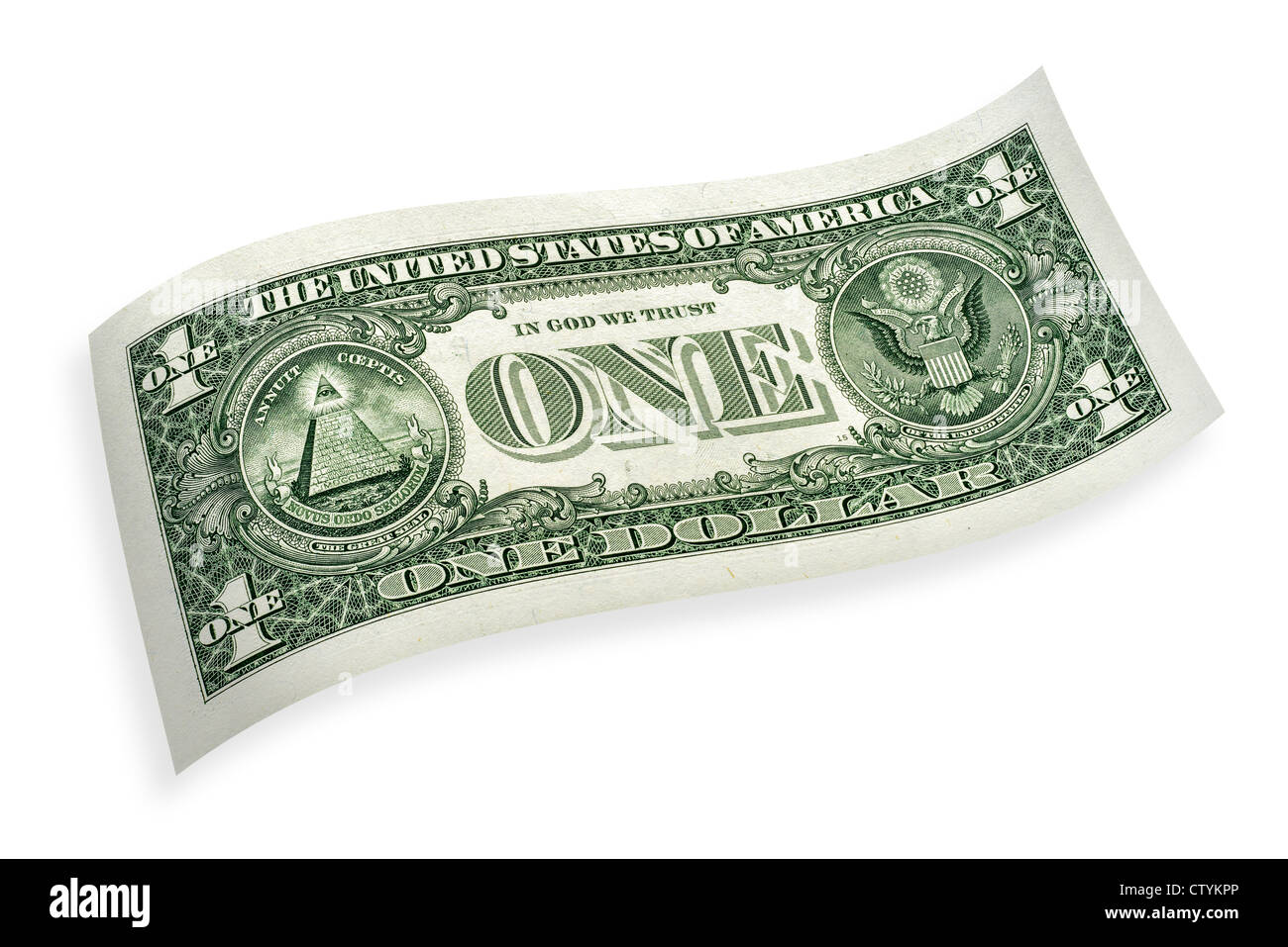 One-dollar-banknote, isolated on 100 % white background curled cut-out - Stock Image