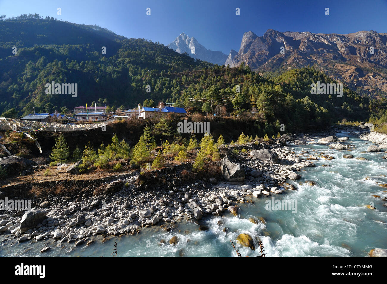 The main Trekking Trial To Everest Base Camp begins As you Cross the footbridge to Phakding - Stock Image