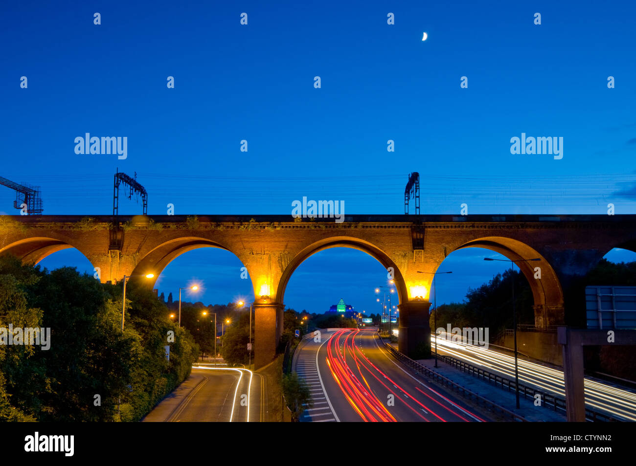 A railway track on a viaduct at Stockport, Greater manchester, England - Stock Image