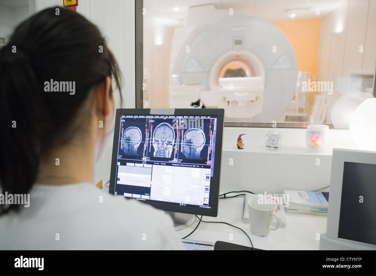 Female doctor in  hospital Radiology department - Stock Image