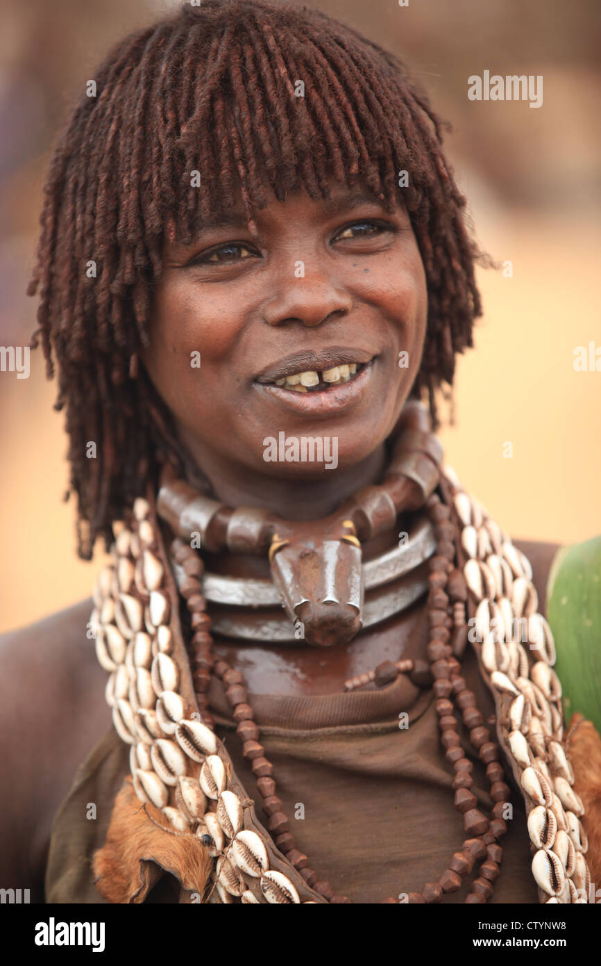 Tribal woman in Omo valley, south-Ethiopia, Africa - Stock Image