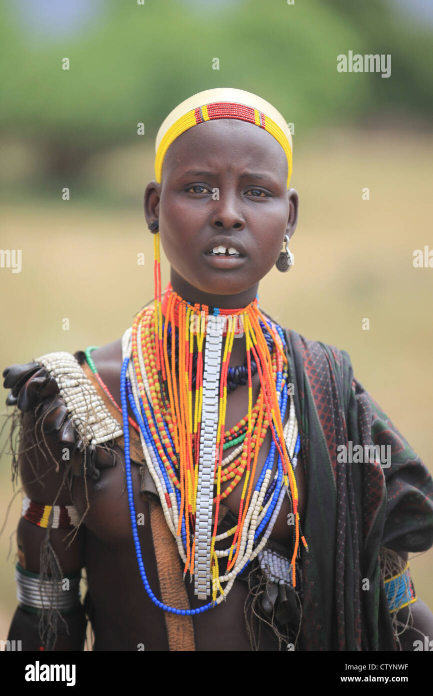 Tribal girl, Omo valley in Ethiopia, Africa - Stock Image
